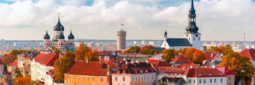 Skyline view of Tallinn Old Town, Estonia